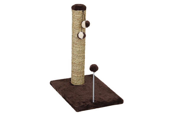 cat craft seagrass scratching post with spring toy