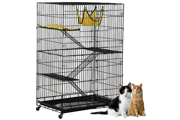 Yaheetech 4 tier cat cage playpen with three ramp ladder and 4 caster
