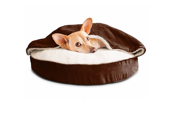 Furhaven Pet round snuggery burrow pet bed