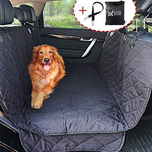 Winner Outfitters Dog Car Seat Covers, Dog Seat Cover Pet Seat Cover for Cars, Trucks, and Suv - Black, 100% WaterProof, Hammock Convertible