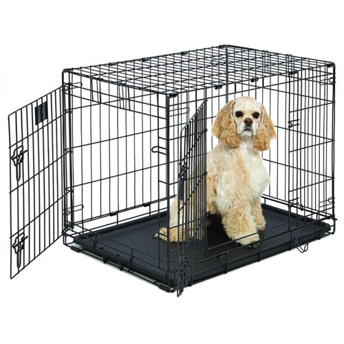 "MidWest Life Stages Heavy-Duty Folding Metal Dog Crates w/ Divider Panel, Floor Protecting ""Roller"" Feet & Leak-Proof Plastic Pan"
