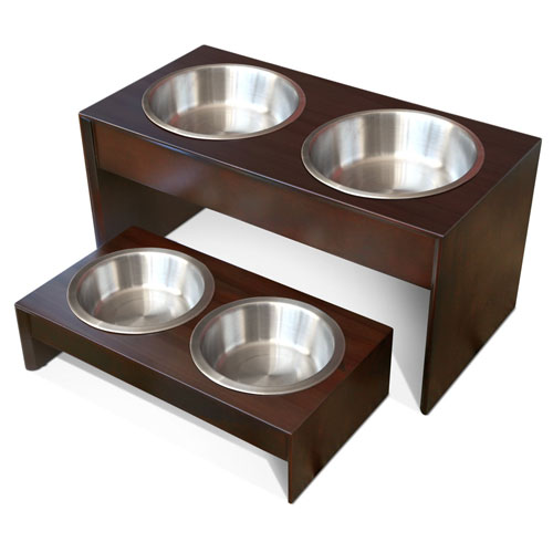 PetFusion Elevated Pet Feeder in Premium Solid Wood. FOOD GRADE Stainless steel bowls