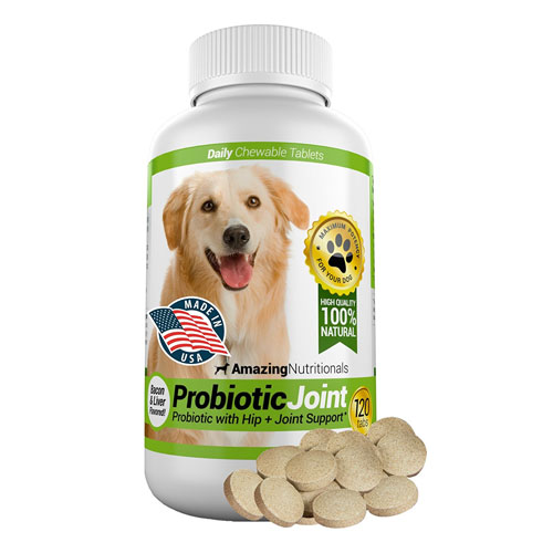 Amazing Probiotics for Dogs Eliminates Diarrhea and Gas, Hip Joint Pain Relief, 120 Chews