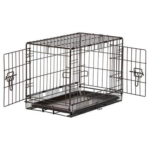 AmazonBasics Single Door & Double Door Folding Metal Dog Crate with Paw Protector
