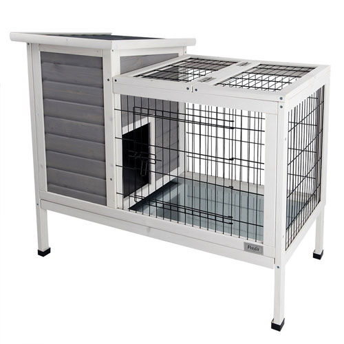 Petsfit Rabbit Hutch, Bunny Cage, Bunny Hutch Wood for Indoor Use