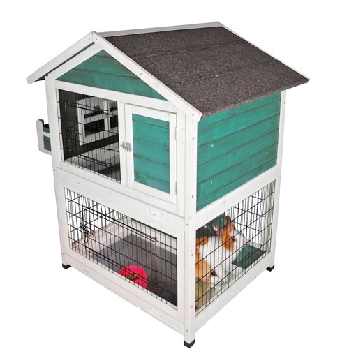 Petsfit 42.5 x 30 x 46 inches Bunny Cages, Outdoor Rabbit Hutch