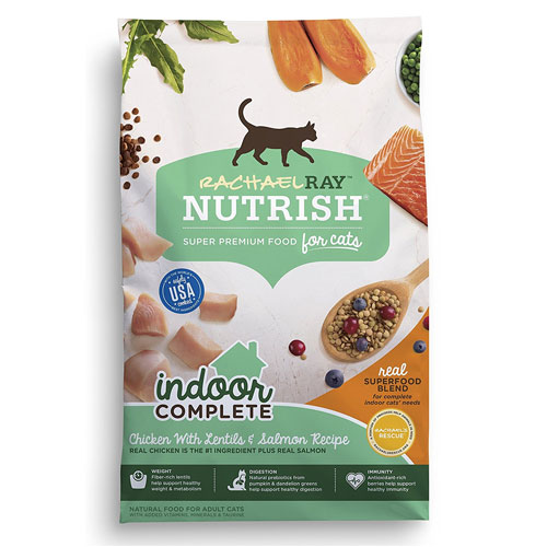 Rachael Ray Nutrish Indoor Complete Natural Dry Cat Food, Chicken with Lentils & Salmon Recipe