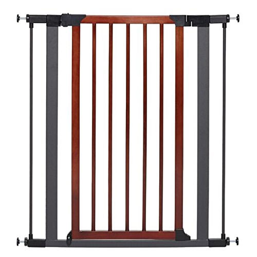 MidWest Homes for Pets Steel Pet Gate w/ Textured Graphite Frame & Decorative Wood Door