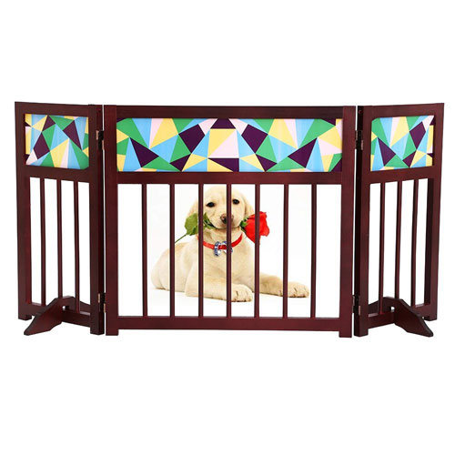 Freestanding Wooden Pet Gate, Safety Gate For Indoor Home & Office – Wood & Stained Folding Design - For Cats Small Dogs & Pets – No Set Up Required