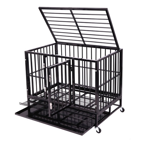 Heavy Duty Dog Cage Strong Metal Kennel Crate Pet Playpen w/Four Wheels and Tray