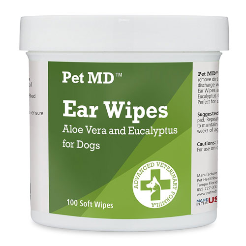 Pet MD - Dog Ear Cleaner Wipes - Otic Cleanser for Dogs to Stop Itching, Yeast and Mites with Aloe and Eucalyptus