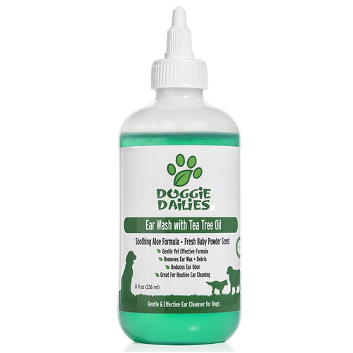Doggie Dailies Pet Ear Cleaner: Tea Tree Oil, Witch Hazel & Soothing Aloe, Vet Formulated Ear Drops