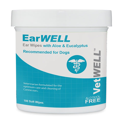 VetWELL Dog Ear Wipes - Otic Cleaning Wipes for Infections and Controlling Yeast, Mites EarWELL by 100 Count