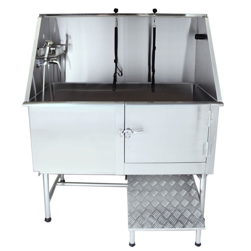 """Flying Pig Grooming 62"""" Professional Stainless Steel Pet Dog Grooming Tub with Faucet, Walk-in Ramp & Accessories"""