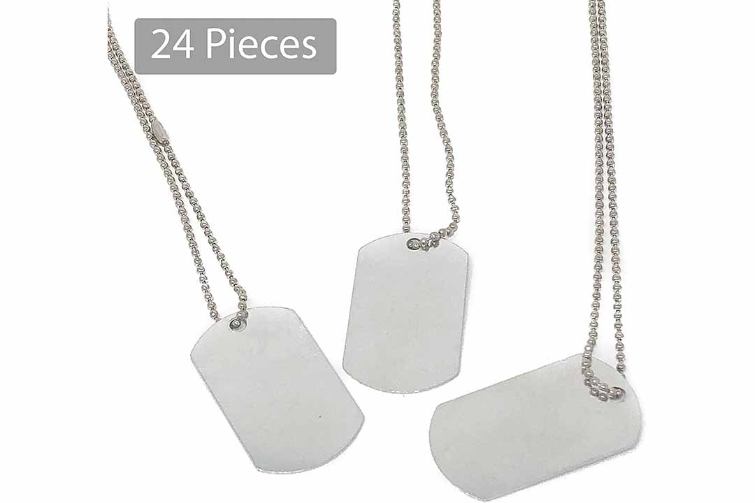 24 Piece Military Dog Tags for Kids