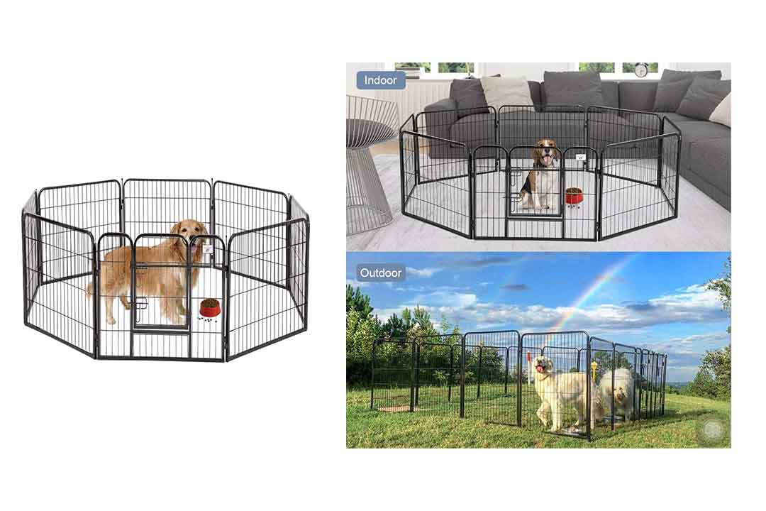 BestPet Pet Playpen 8 Panel Indoor Outdoor Folding Metal Protable Puppy Exercise Pen Dog Fence