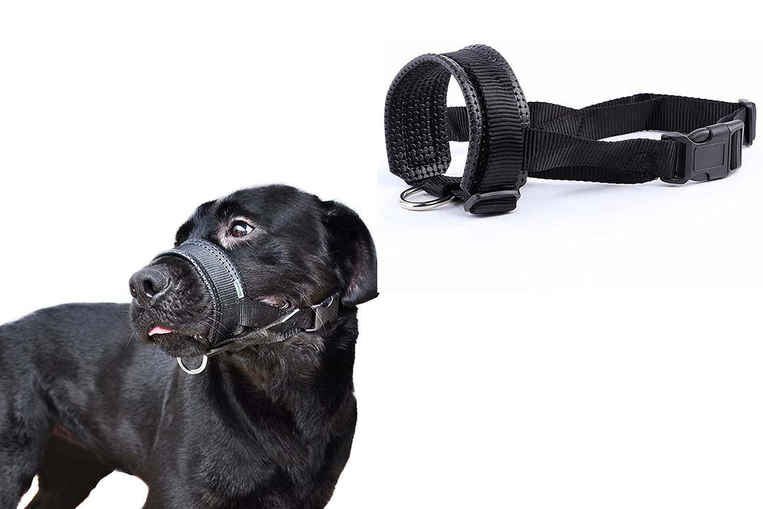 Niteangel Quick Fit Nylon Dog Muzzle, Adjustable Loop, Black