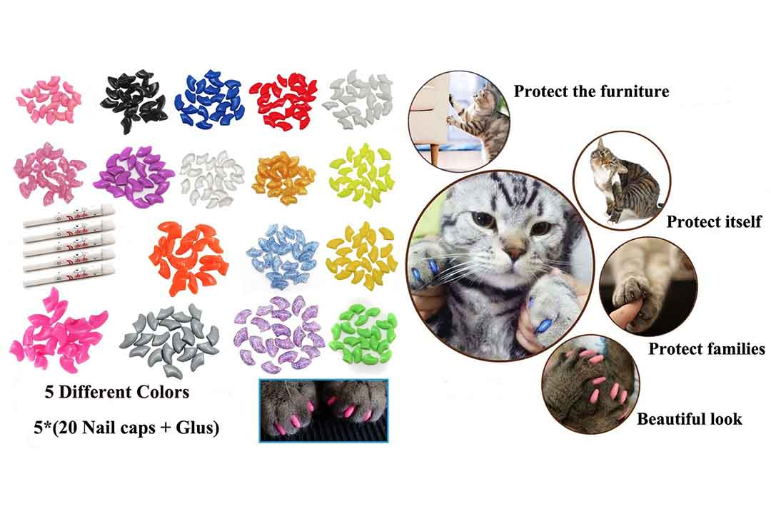 VICTHY 100 PCS Soft Pet Cat Nail Caps Cats Paws