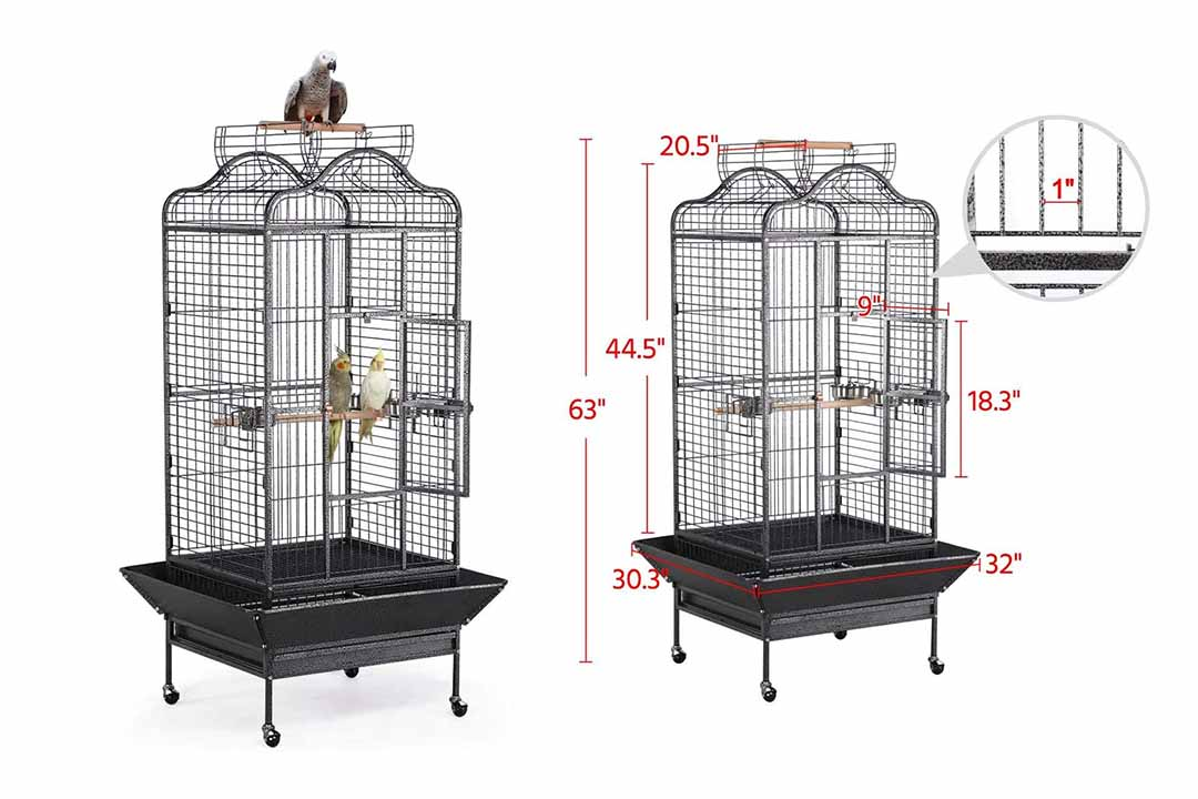 Yateech Wrought iron Rolling Extra Large Open Play Top Bird Cage