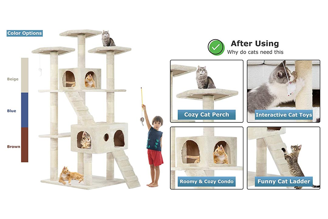 "Best Pet 73"" Cat Tree Scratcher Play House"