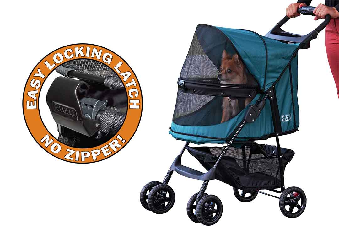 Pet Gear No-Zip Happy Trails Pet Stroller for Cats/Dogs