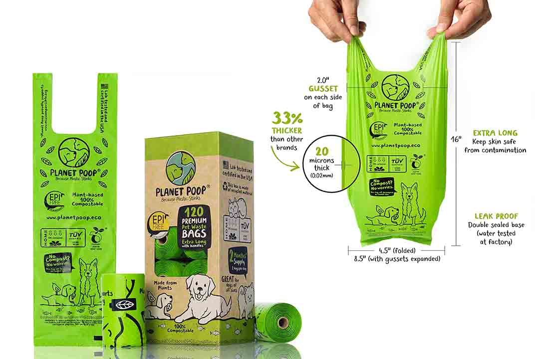 PLANET POOP - Compostable Biodegradable Dog Poop Bags Unscented