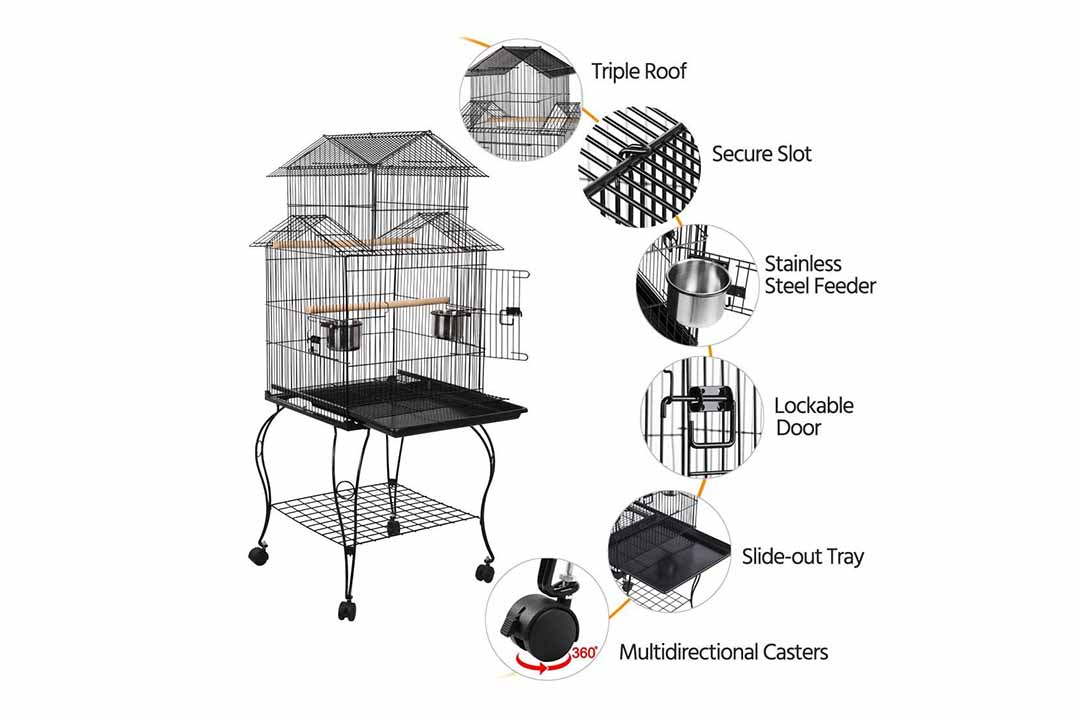 Yaheetech 55-Inch Rolling Standing Tripple Roof Medium Parrot Cage