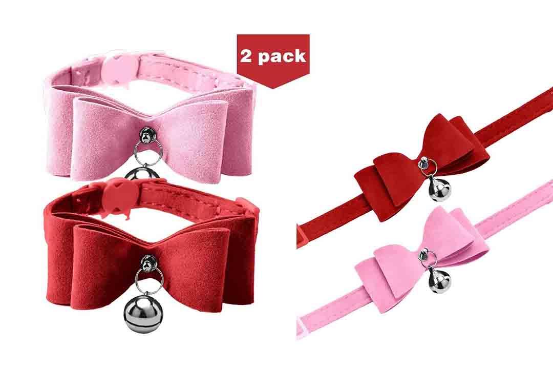 BINGPET 2Pcs Breakaway Bowtie Cat Collar