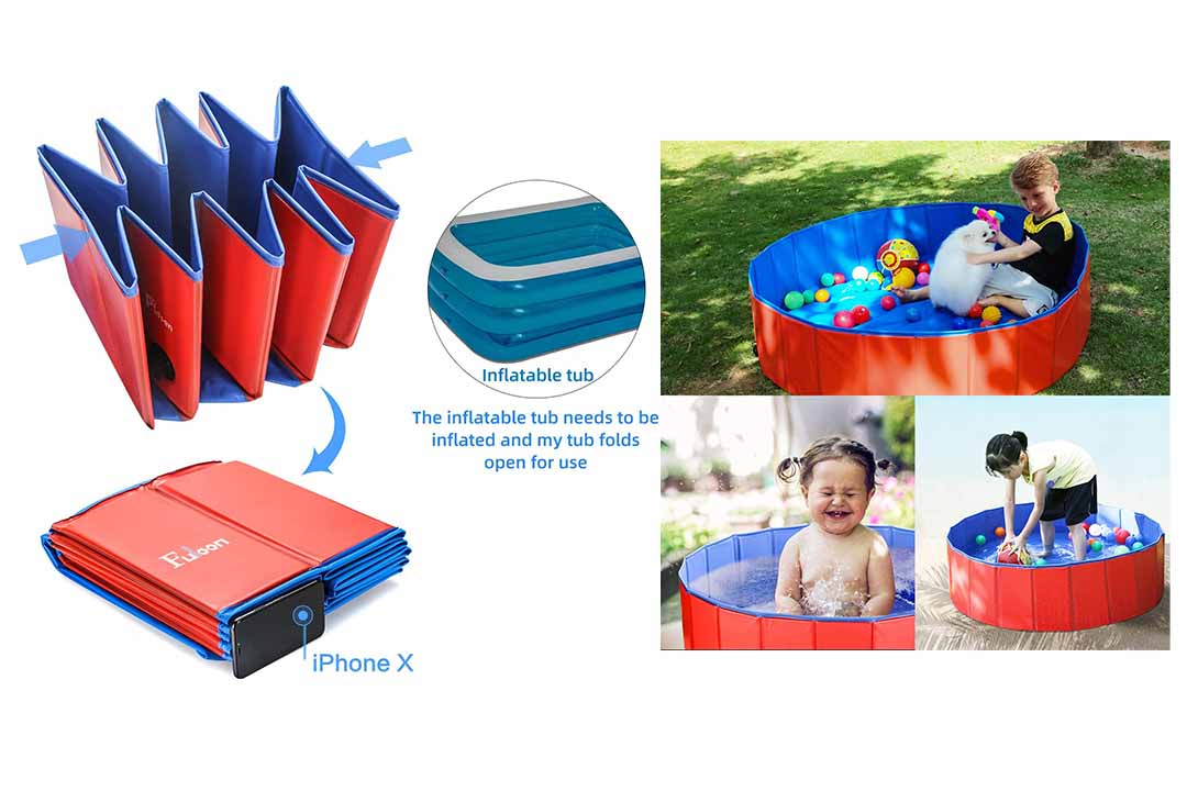 Fuloon PVC Pet Swimming Pool Portable Foldable Pool Dogs Cats Bathing Tub