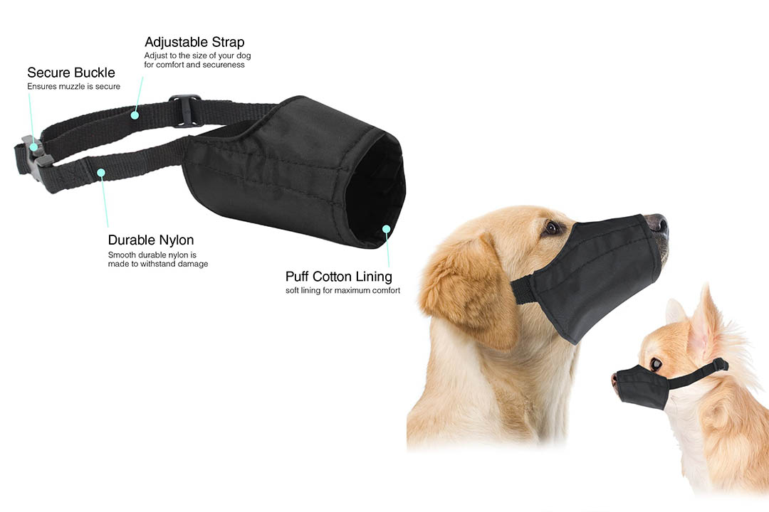 Quick Fit Dog Muzzle with Adjustable Straps, black nylon Dog Muzzle