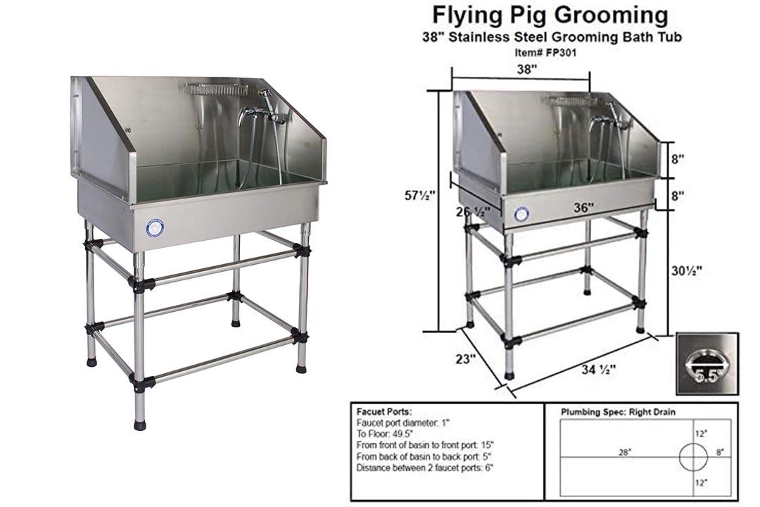"""lying Pig Grooming 38"""" Stainless Steel Dog Pet Bathing Tub"""