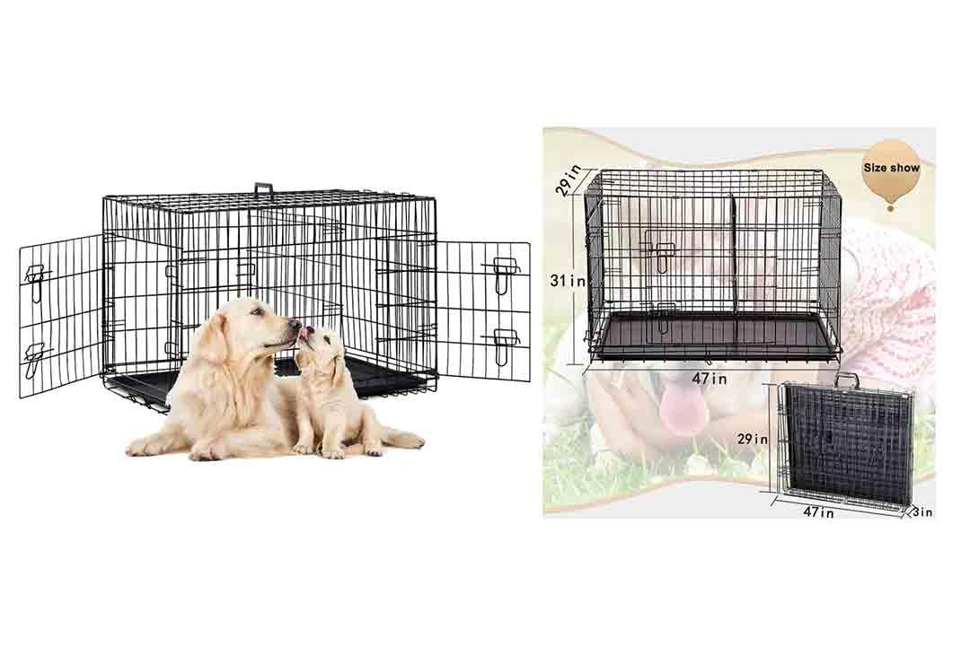 "48"" 2 Doors Pet Folding Suitcase Dog w/Divider Cat Crate"