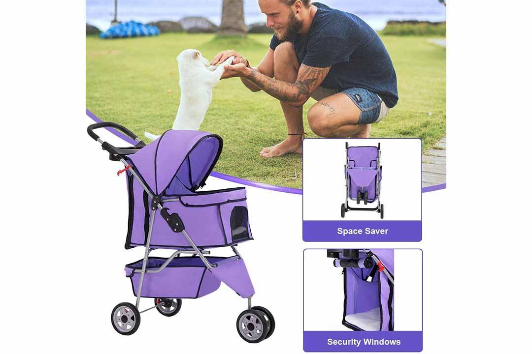 BestPet Pet Stroller Dog Cat Cage 3-Wheels Best Stroller T13
