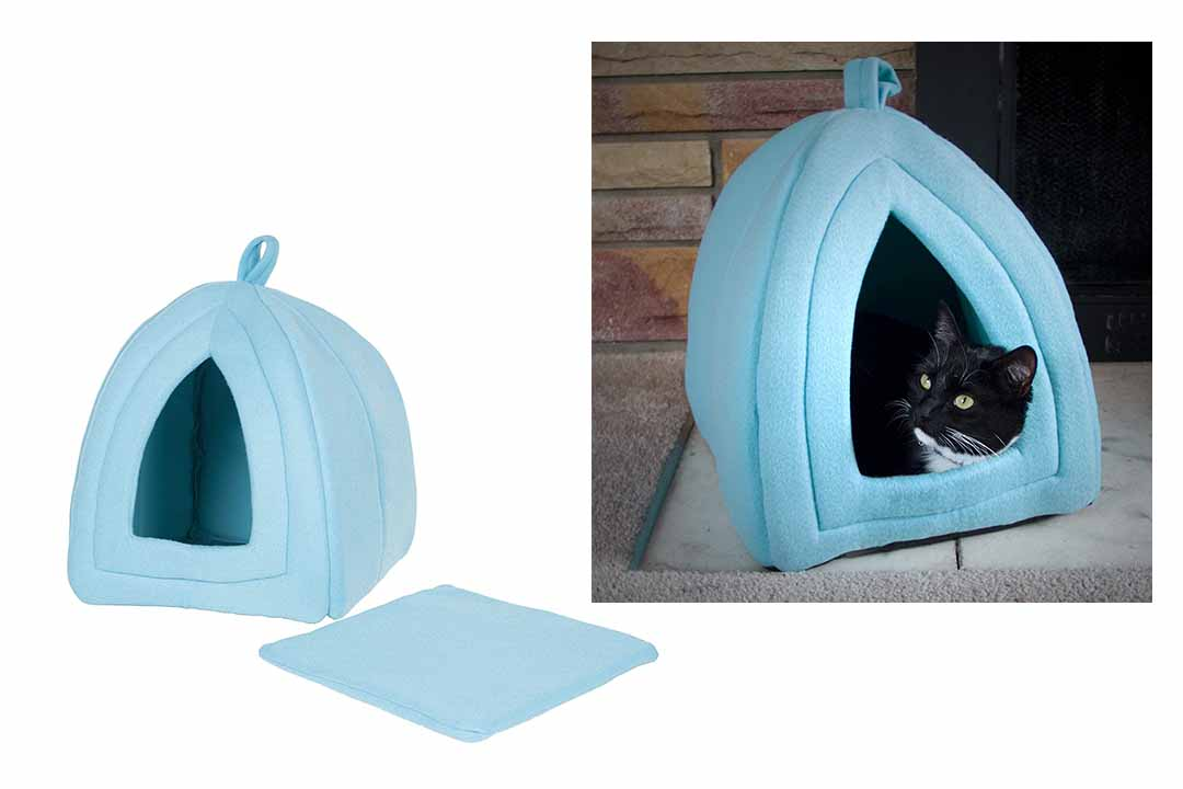 Cat Pet Bed, Igloo - Soft Indoor Enclosed Covered Tent/House
