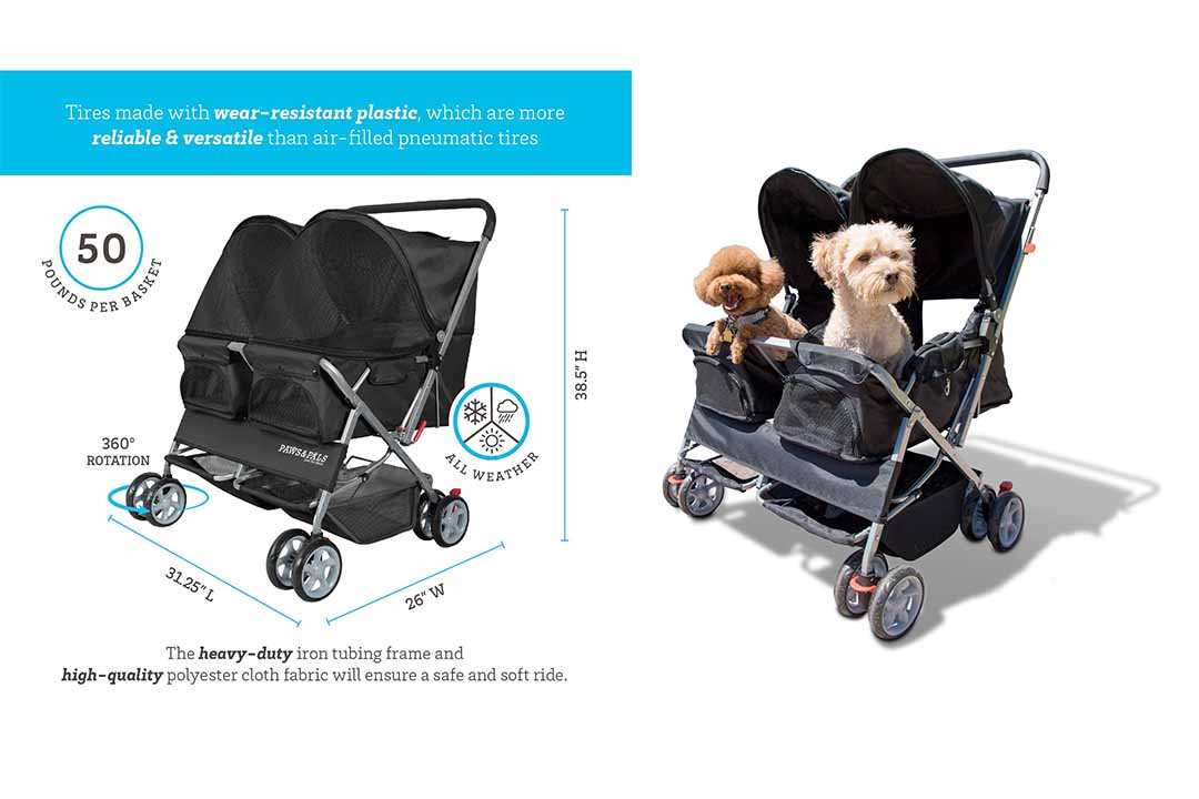 Double Dog Stroller for Small and Medium Pets