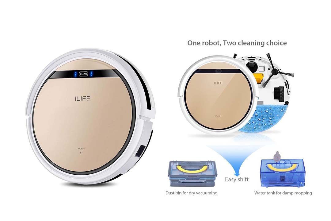 ILIFE V5s Robotic Vacuum Cleaner with Water Tank Mop