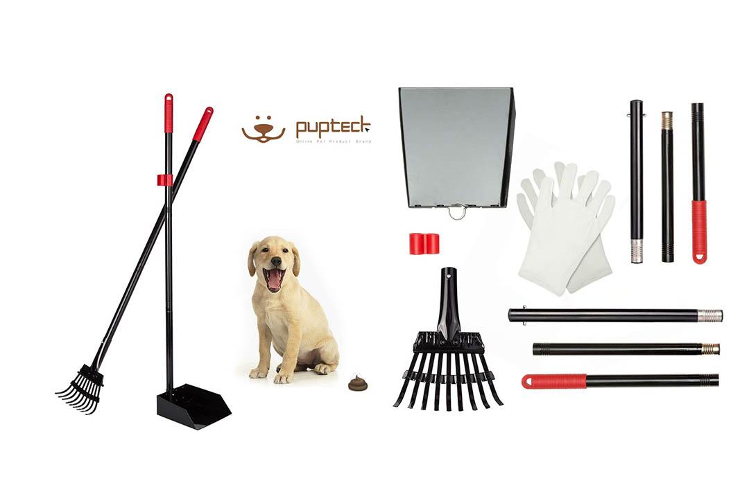 PUPTECK Pet Poop Tray and Rake - Long Handle Pooper Scooper