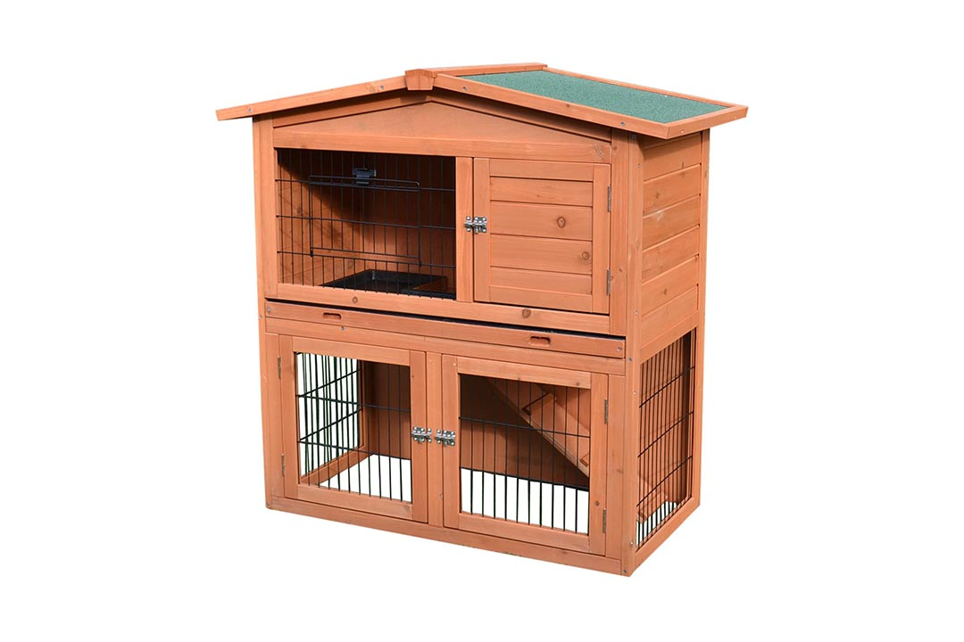 "Pawhut 40"" Wooden Rabbit Hutch"