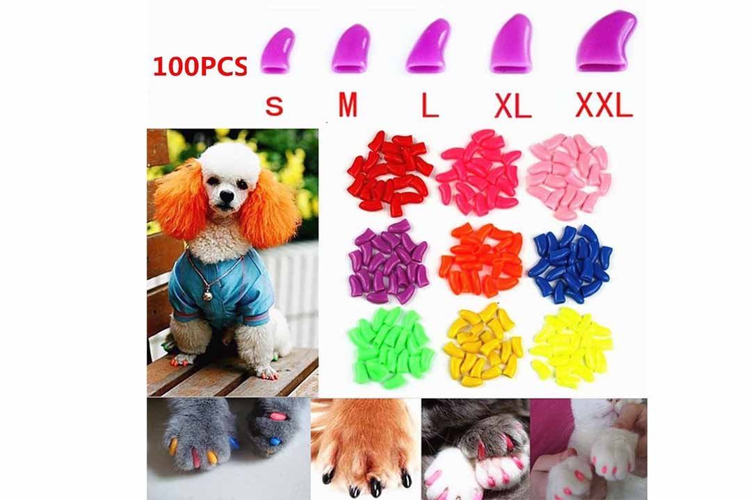 Brostown 100Pcs Soft Pet Dog Nail Caps Claws