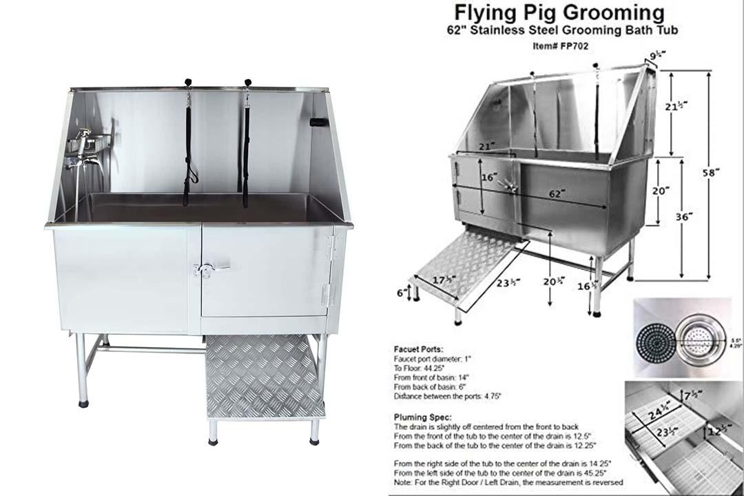 "Flying Pig Grooming 62"" Professional Stainless Steel Pet Dog Grooming Tub"