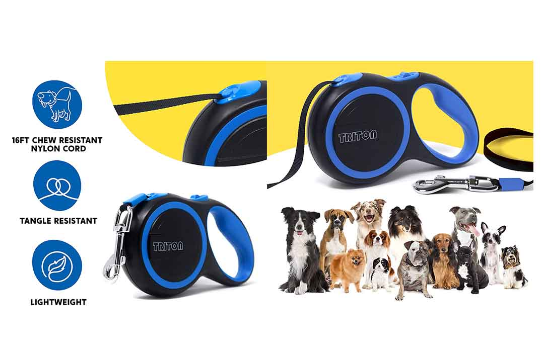 Triton Retractable Dog Leash with 16ft Reinforced Nylon Band