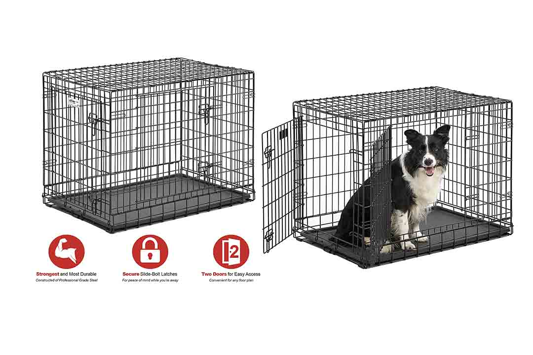Ulitma Pro Extra-Strong Double Door Folding Metal Dog Crate