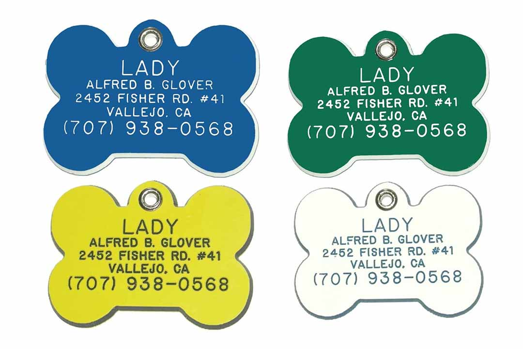 Bone Shaped Dog Cat Pet ID Tag Custom Engraved Acrylic Plastic