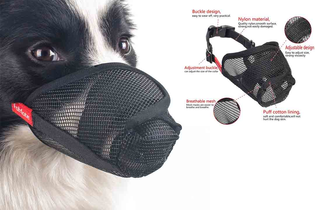 Dog muzzle, Anti licking quick fit long snout gentle mesh mask mouth cover