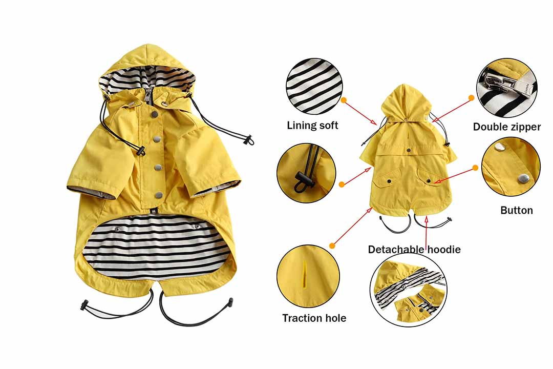 Morezi Dog Zip Up Dog Raincoat