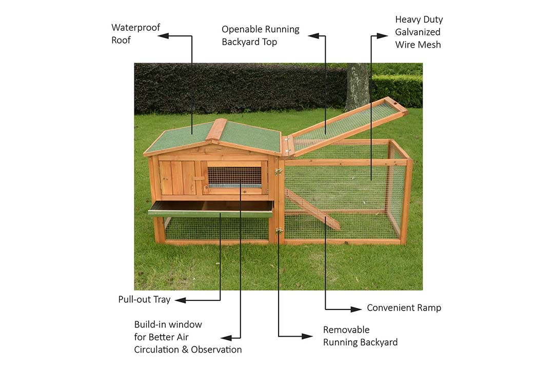"Pawhut 62"" Outdoor Guinea Pig Pet House/Rabbit Hutch"