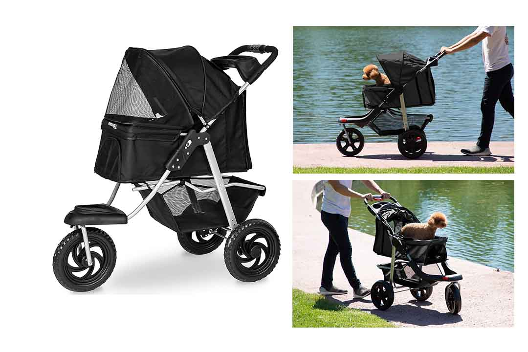 Dog Stroller for Dog and Cat- Deluxe 3-Wheel for Small, Dog, Puppy & Cat