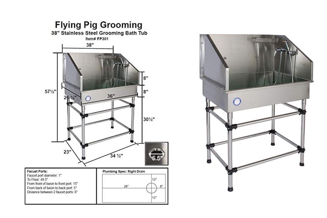 Flying Pig Grooming Dog Bathing Tub
