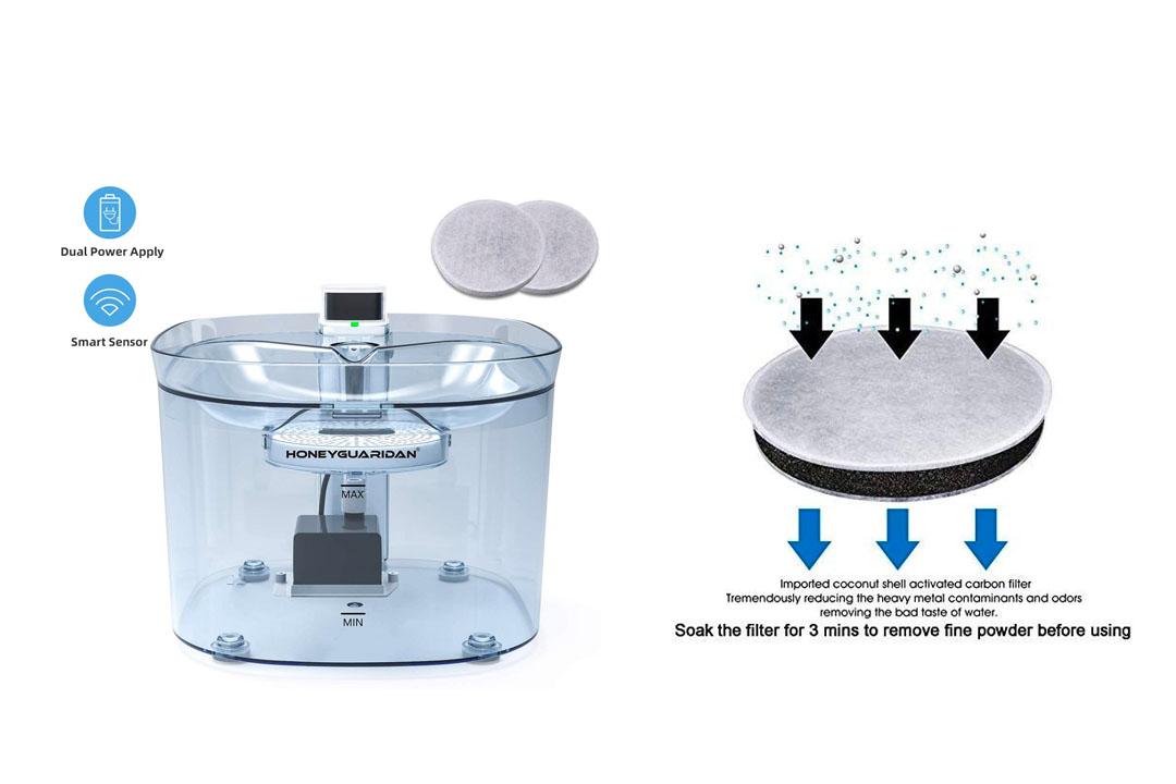 HoneyGuaridan Pet Fountain Battery Operated Dual Power Design Cat Water Fountain