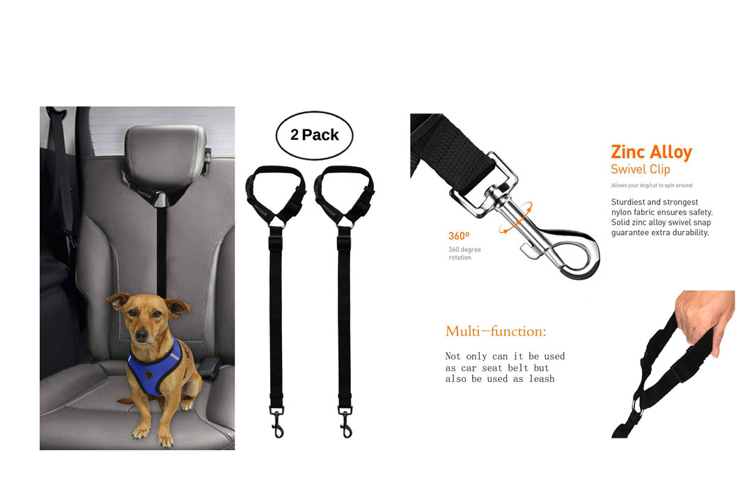 BWOGUE 2 Packs Dog Cat Safety Seat Belt